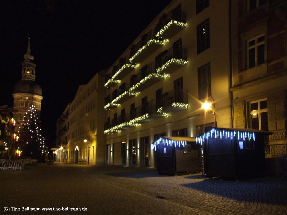 Marktplatz, Hotel Elbresidenz und Kirche in Bad Schandau