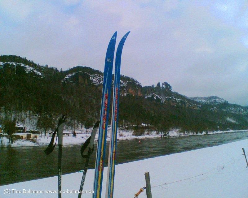 Beweisfoto - Skilaufen auf dem Elberadweg