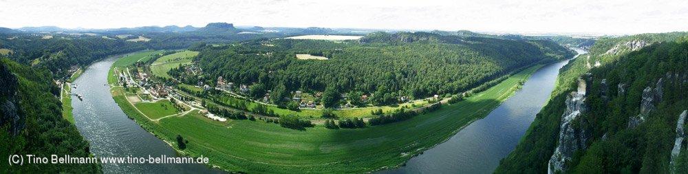 Blick von der Bastei in Rathen - Panoramafoto aus mehreren Einzelaufnahmen