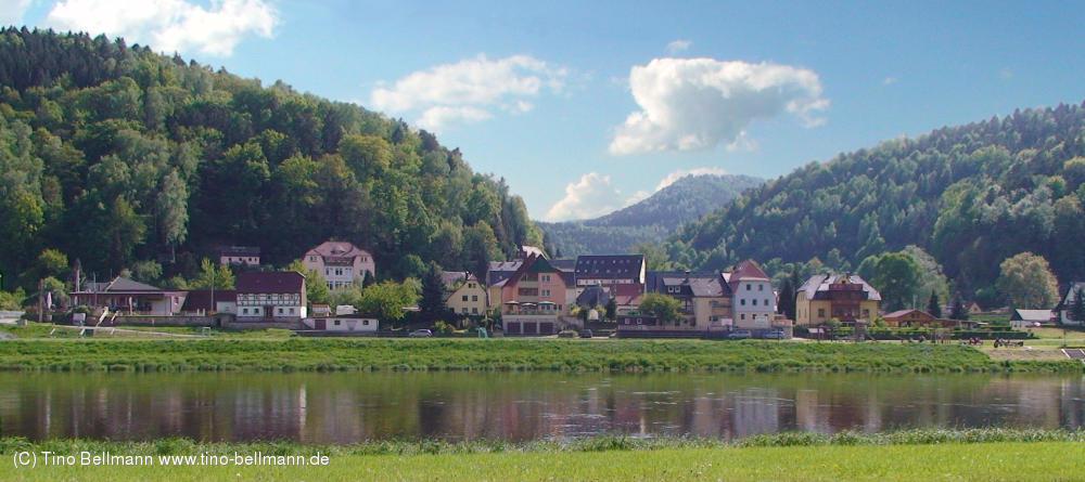 Blick von Postelwitz auf Krippen - Sächsische Schweiz